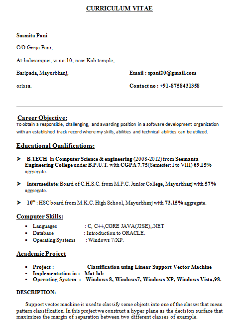 resumeformatforbtechcsestudents download resume templates - Free Download For Resume Templates