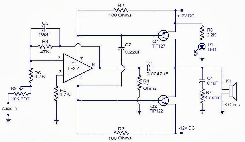 Class Ab Transistor Power Amplifier Circuit Schematic - DATA WIRING ...