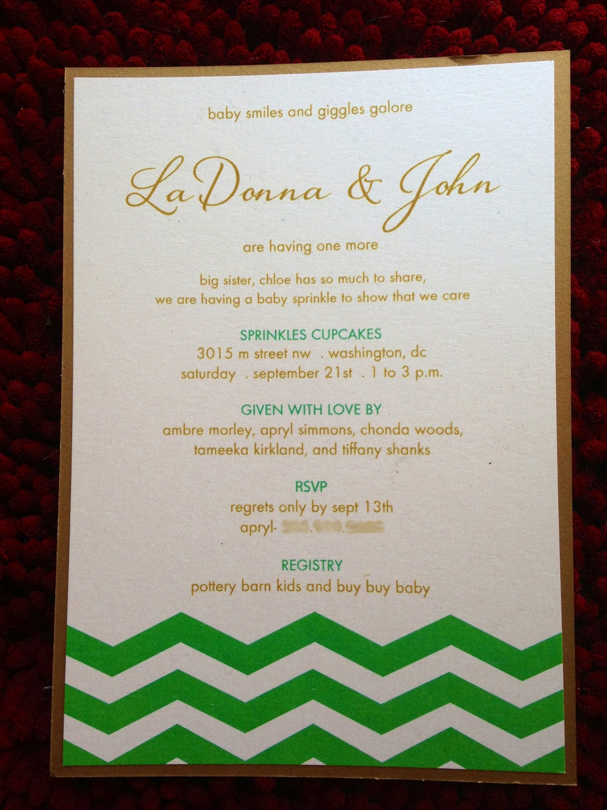 2 Hearts B 1 Designs: {Baby Shower Details} Green, White, & Gold ...