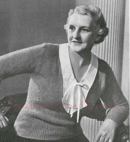 1930's Knitting - A Sensible Knitted Womens jumper
