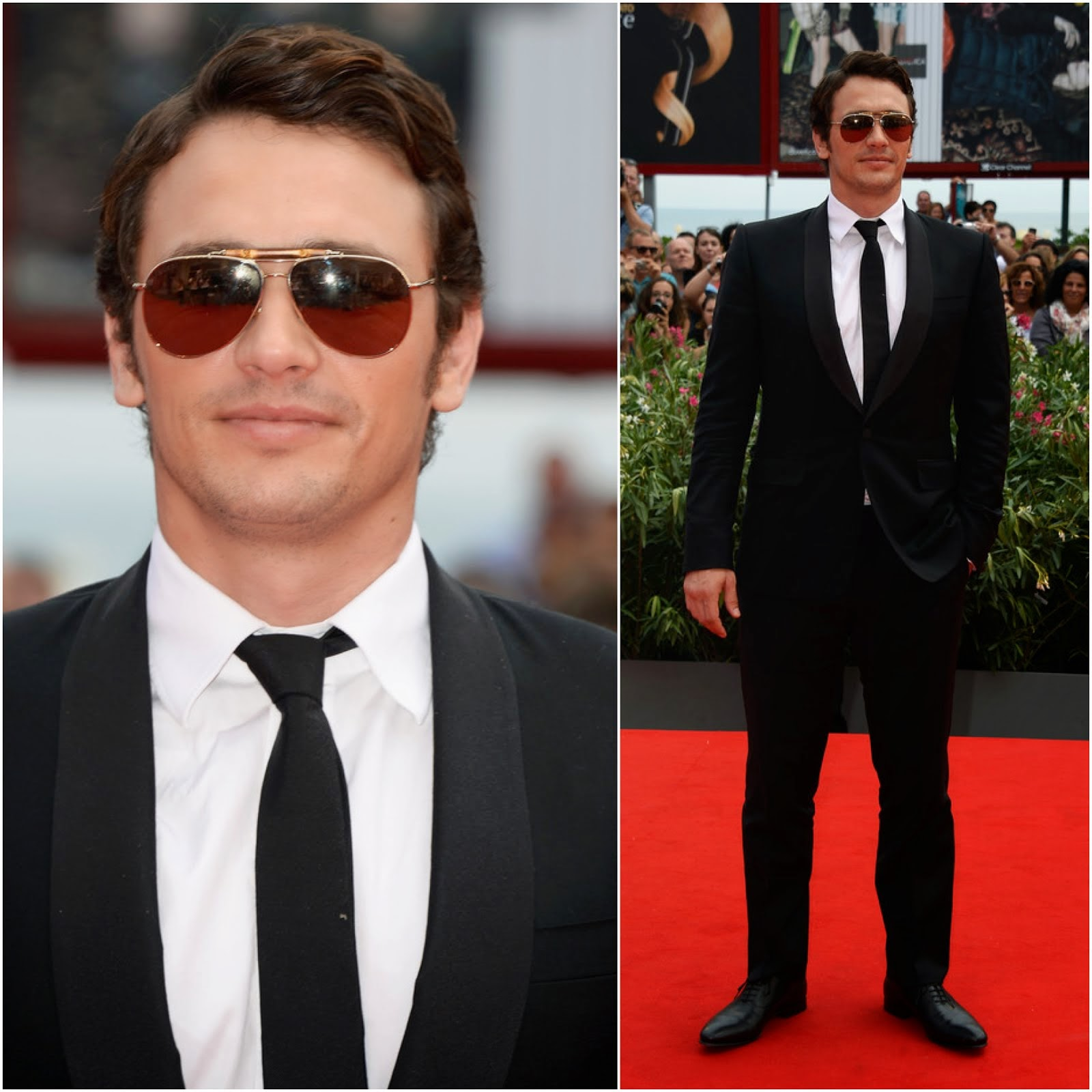 00O00 Menswear Blog: James Franco's Gucci bamboo aviator sunglasses - 'Palo Alto' Premiere, 70th Venice International Film Festival