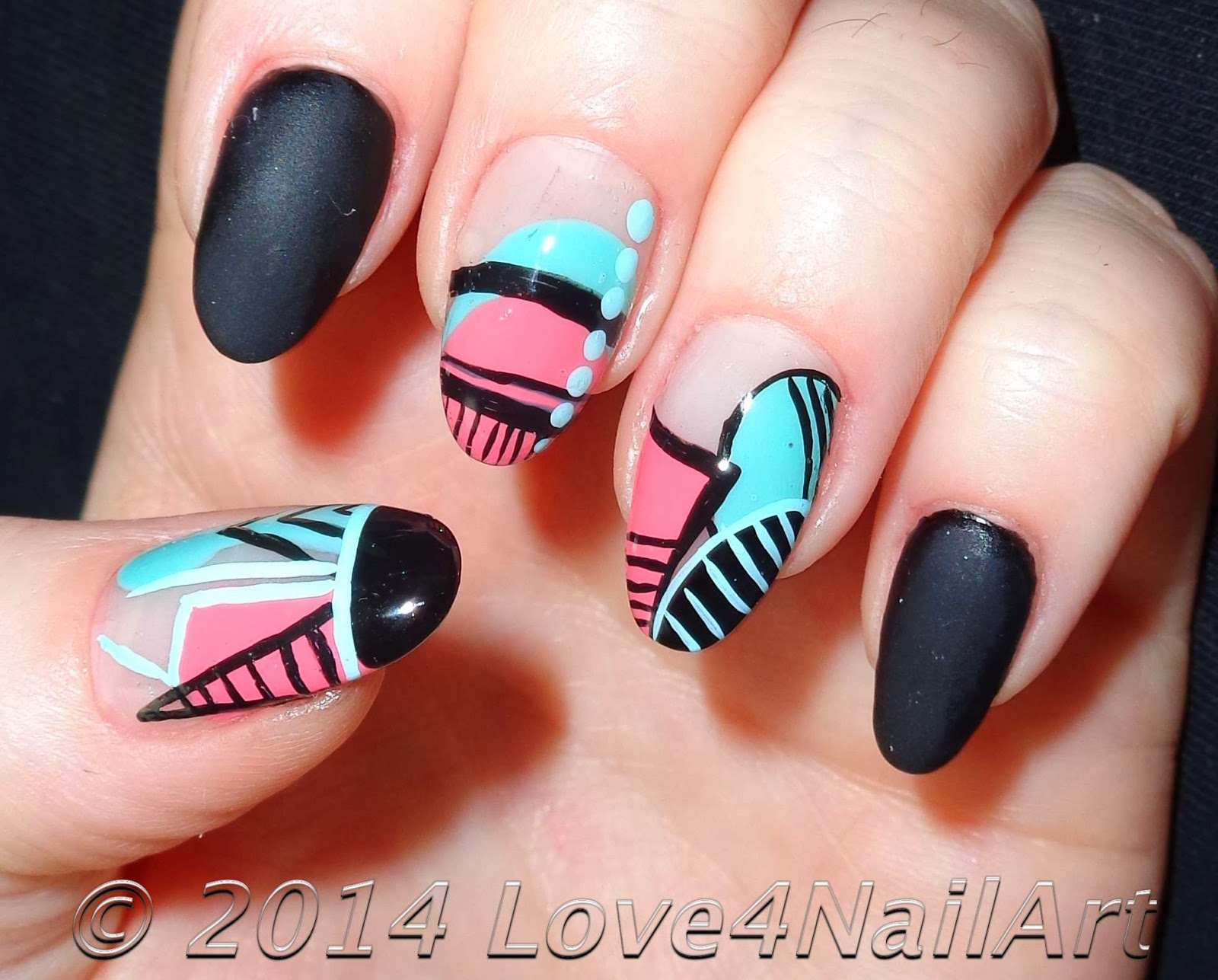 Love4NailArt: Spring Time Geometric Oval Acrylic Nails (Re-Creation)