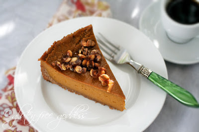 vegan pumpkin pie with coconut pecan crust
