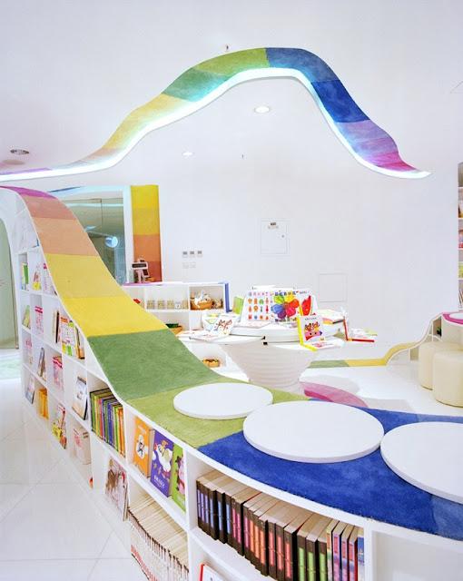 مكتبة الأطفال في الصين مكتبة رائعة بكل ألوان الطيف The-Kid-Republic-5