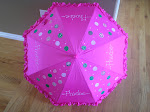 hot pink polka dots with white, green and pink