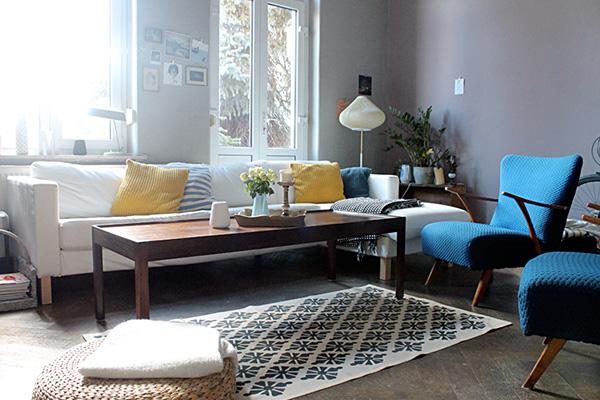 Wohnzimmer Wandfarbe grau