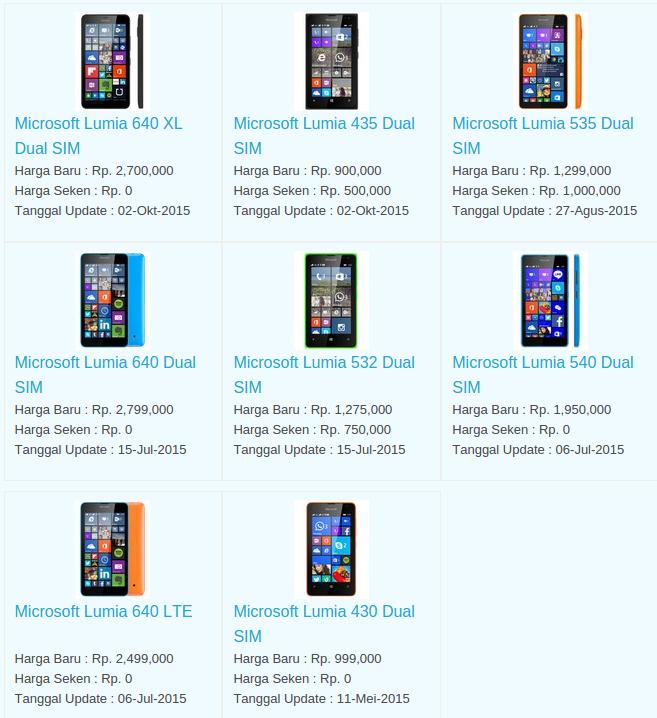 Daftar Terbaru Harga Hp Microsoft Oktober 2015