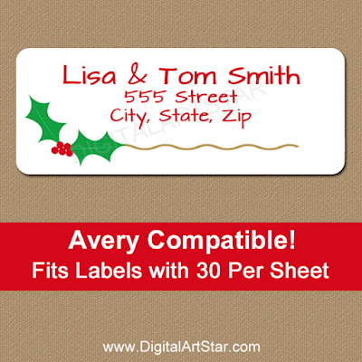 christmas holly return address labels with gold accents