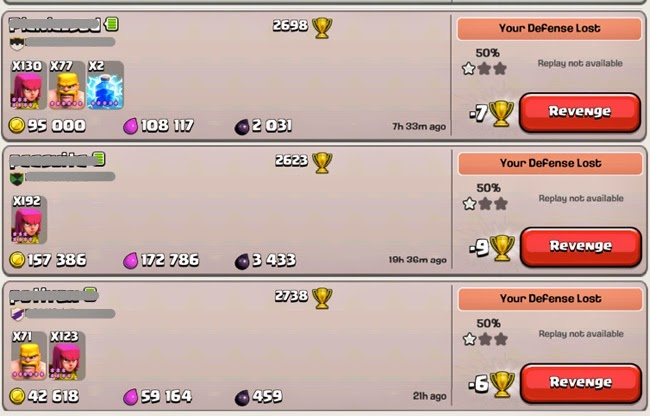Log Raided Clash of Clans