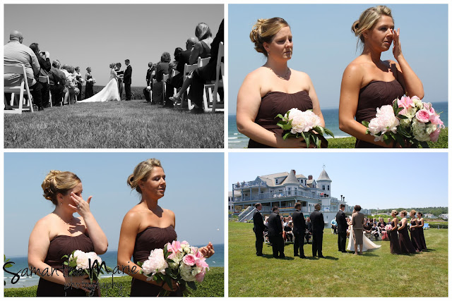 bridesmaids crying at ceremony