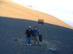 Mini-atrapanieblas instalado en sector Pampa Bugueño. Oasis de niebla  de Alto Patache.