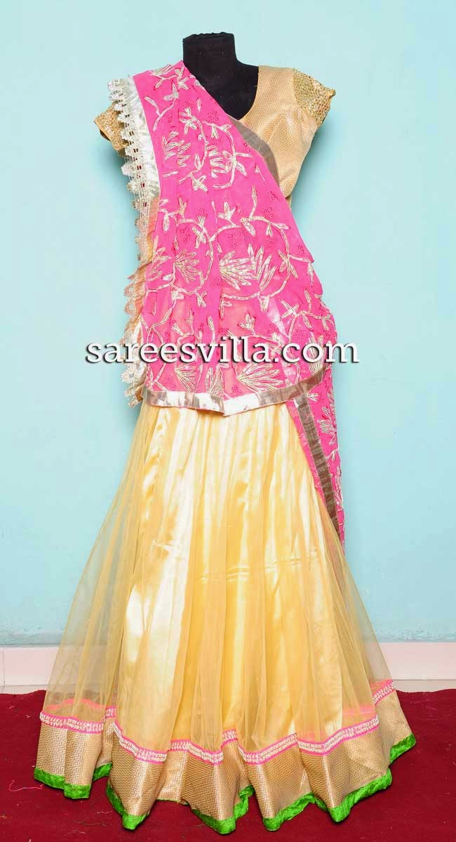 Cream designer half saree