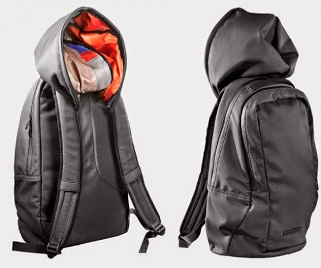 Cap attached to school bag.