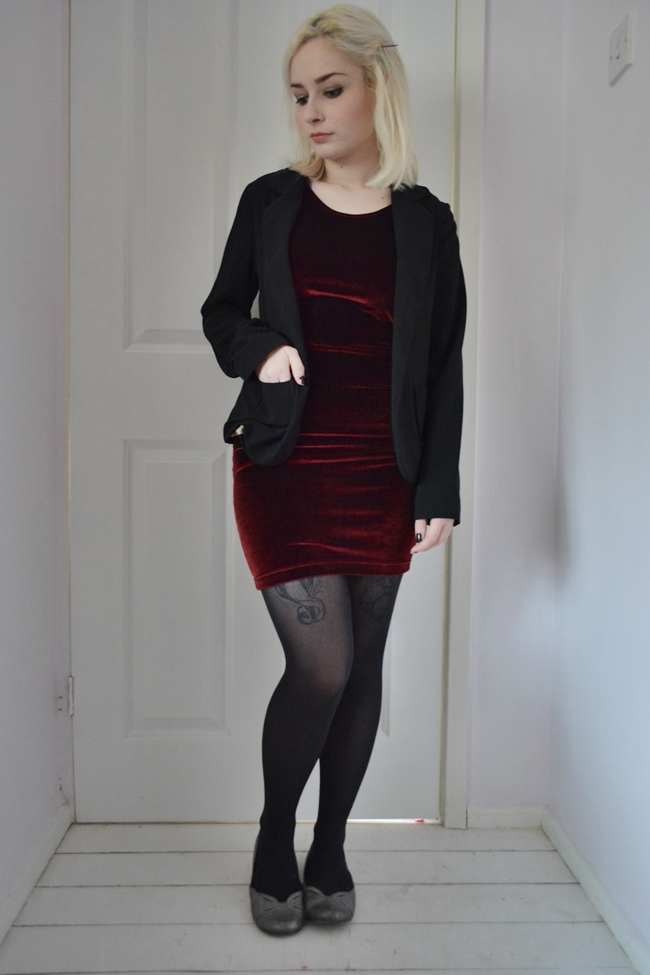 American Apparel red velvet bodycon dress with blazer