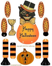 primitive Halloween, Vintage Halloween Jointed Doll, Beistle, primitive, Halloween paper craft, glitter