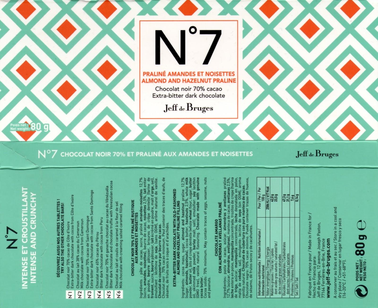 tablette de chocolat noir fourré jeff de bruges n° 7 praliné amandes et noisettes 70