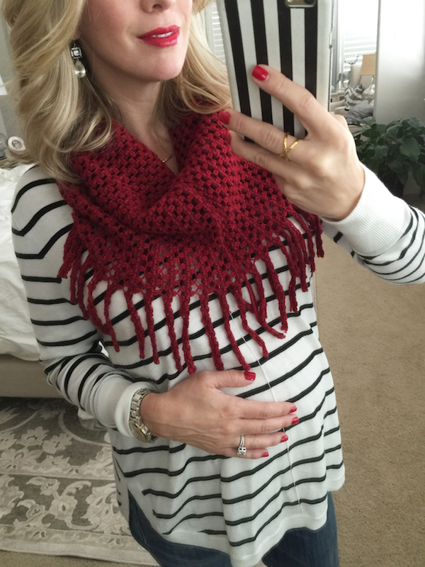 Fall & Winter fashion | fringe infinity scarf