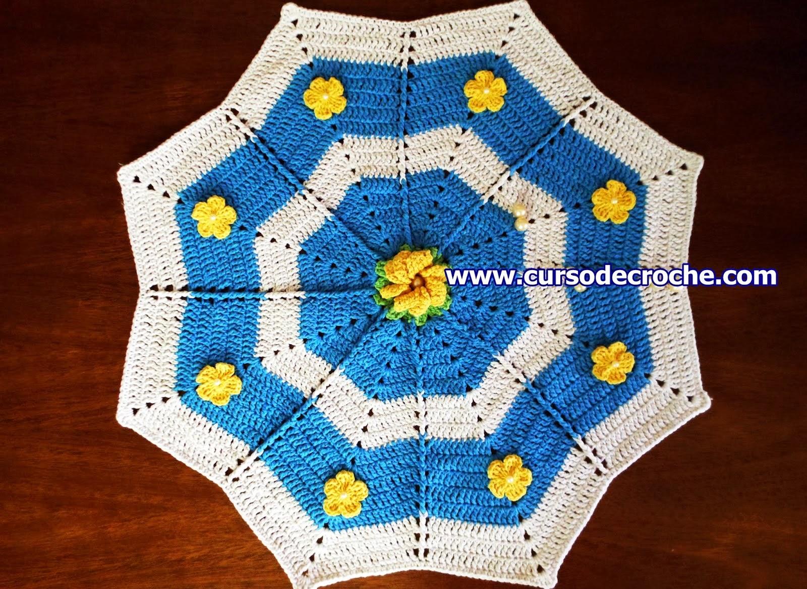 aprender croche tapetes estrela floral branco azul amarelo edinir-croche dvd video aulas loja curso de croche frete gratis