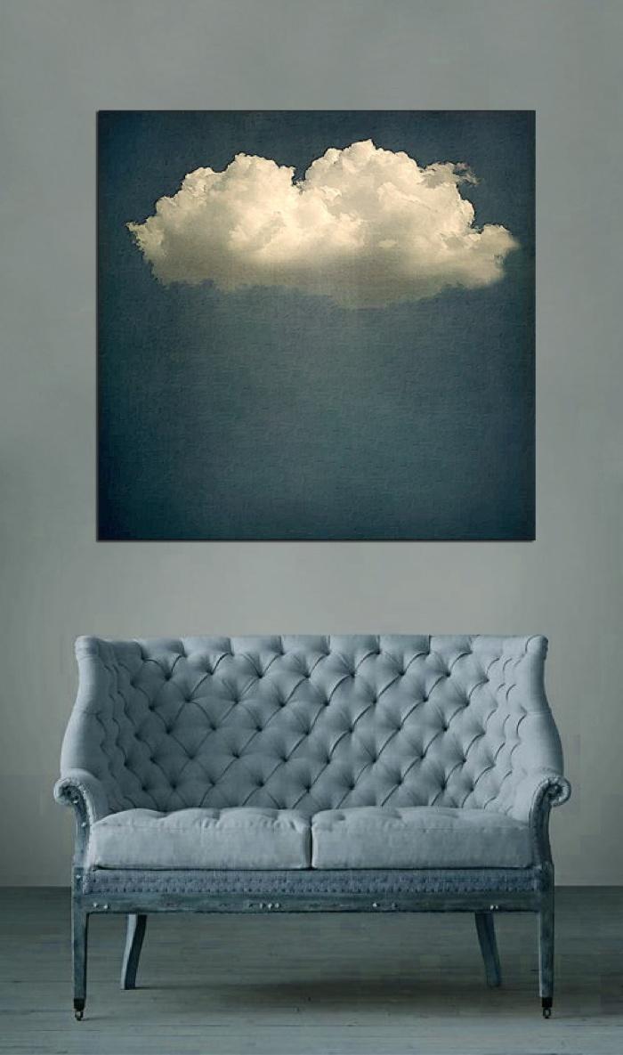 Decoracao de parede com foto de nuvem - facil e barato