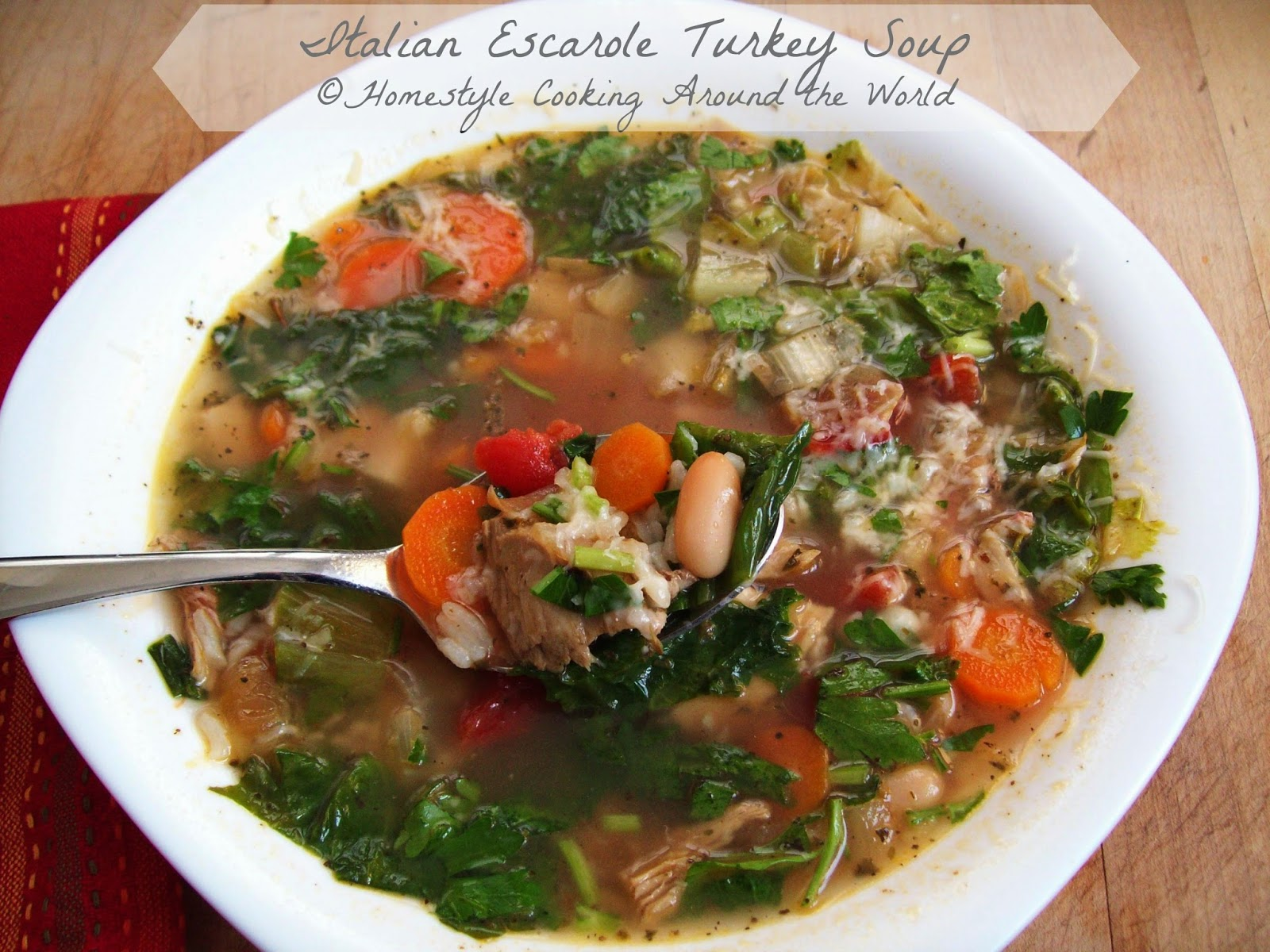 Homestyle Cooking Around The World: Italian Escarole Turkey Soup