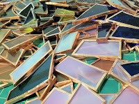 copper foil covered glass scraps