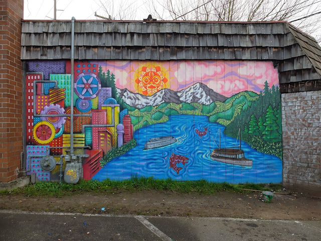 Ballard Grill and Alehouse: A Sunday Morning, a mural, and cigarette butts.