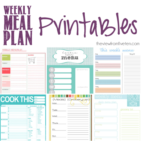 meal plan #printables