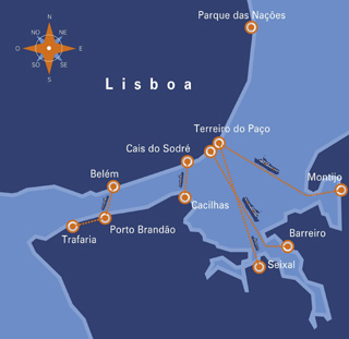 Transtejo maps Lisbon Lisboa ferry
