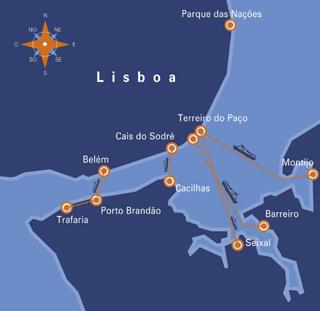 Transtejo maps Lisbon Lisboa ferry