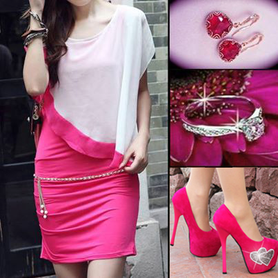 Women wearinf slim and skinny hot pink dress with pinky layered blouse  and  silver accessories. absolutely love the combination shoes fashion