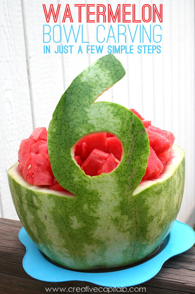 Capital b simple watermelon bowl carving