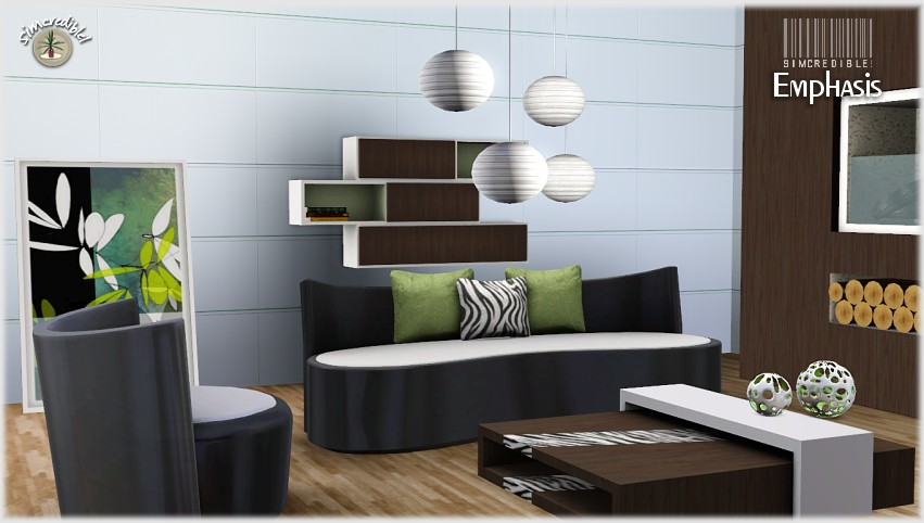 My sims 3 blog emphasis living room set by simcredible for Living room ideas sims 3