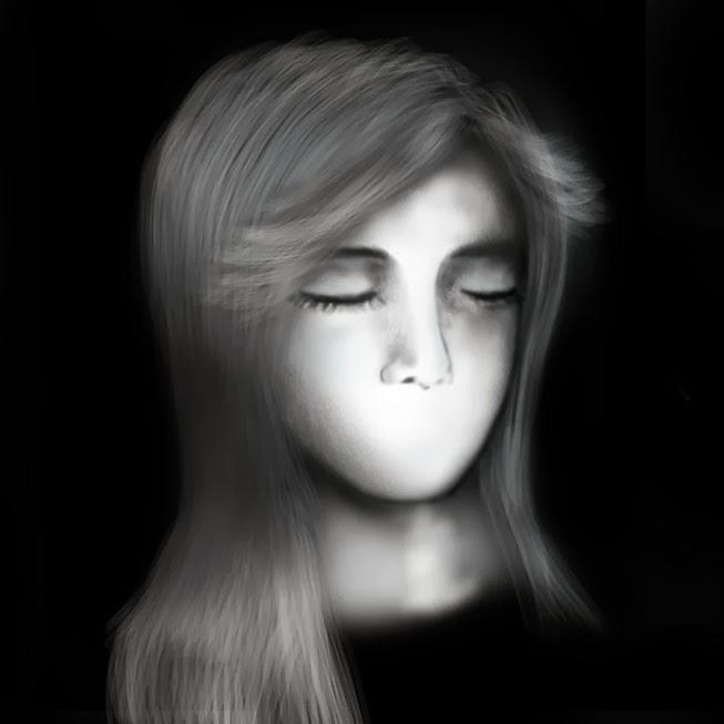 girl drawing, digital painting, closed eyes, creepy, draw hair, draw portrait, illustration, art