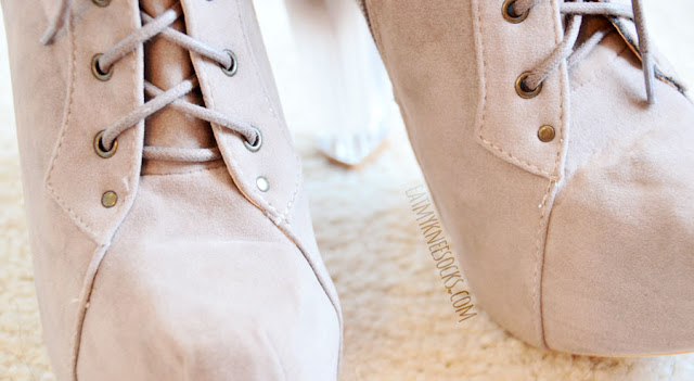 Close-up of the taupe gradient ombre lucite heel platform booties (Jeffrey Campbell Lita dupes) from AMIClubwear.