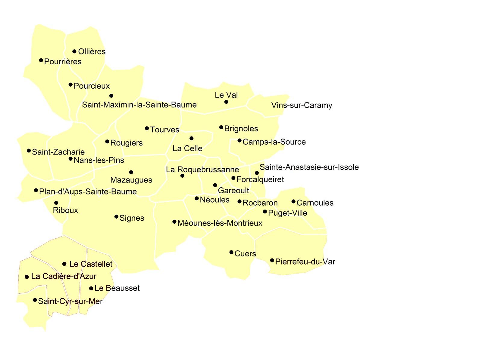 Les communes de la 6ème circonscription du Var