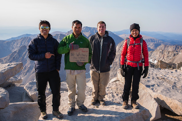 Paul Rojas, Vi Peou, Michael Lemoi, Vanessa Rojas at Mount Whitney summit, June 2013