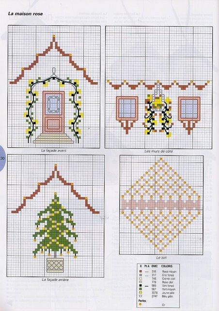 Домики вышиваем схемы