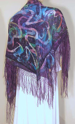 Deborah Younglao hand painted batik silk shawl