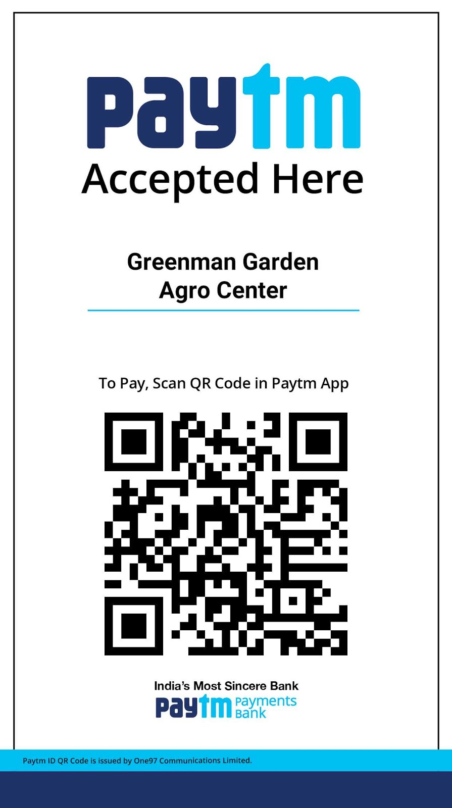 Greenman Garden Agro Center Paytm Code