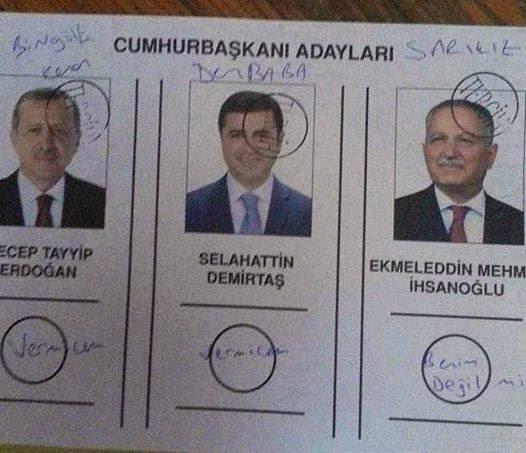 Cumhurbaşkanlığı seçimleri oy pusulası