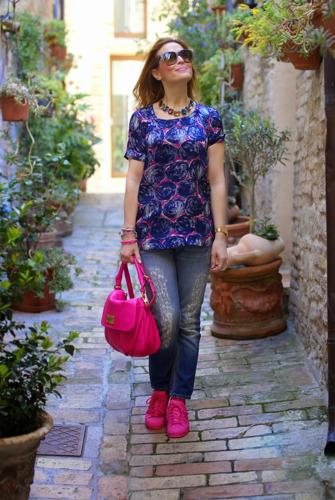 Tory Burch blouse, adidas originals sneakers, fashion and cookies, pink supercolors, pink supercolor shoes, fashion blog, fashion blogger style