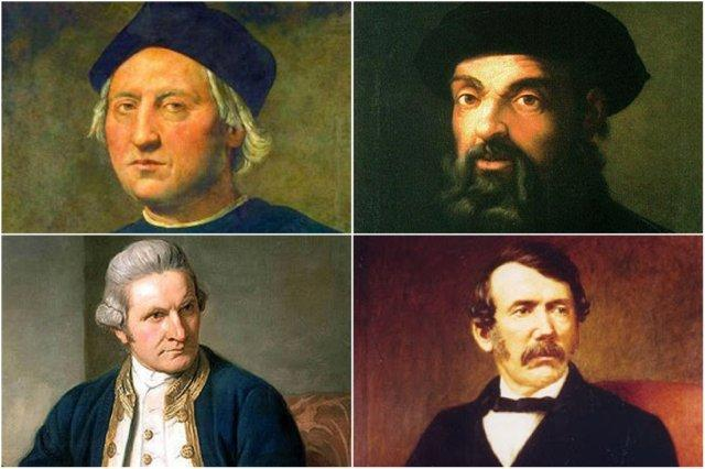 Cristobal Colon, Fernando de Magallanes, James Cook y David Livingstone