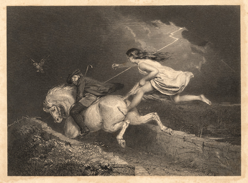 Nannie grabs Meg's tail, engraving by John Faed