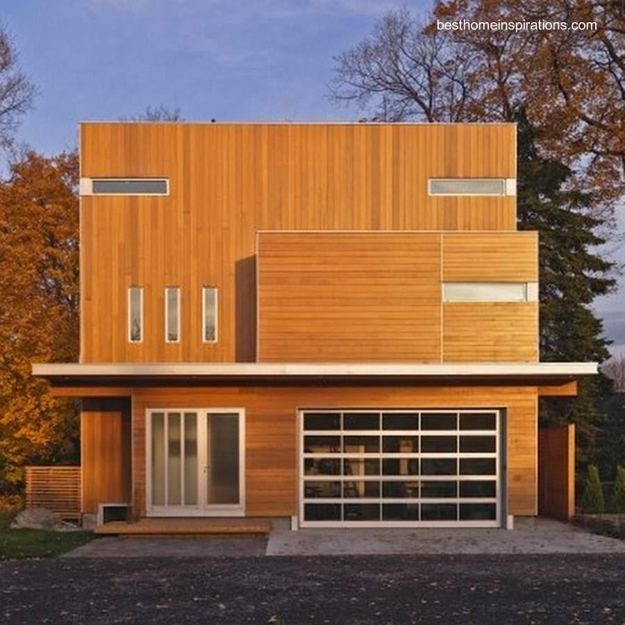 Casa residencial contemporánea cubierta de madera