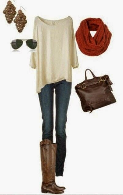 Dark Jeans With Baggy T-shirt And Red Scarf