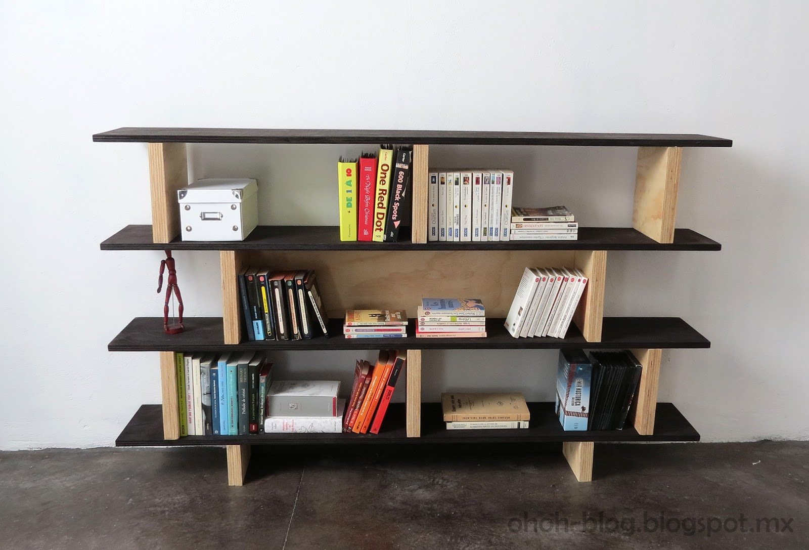 Diy bookcase librero ohoh blog for Easy diy shelves