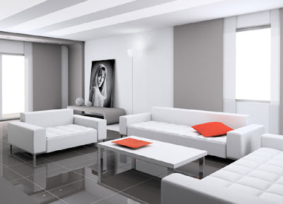 Living Room with White Furniture Looks Luxurious