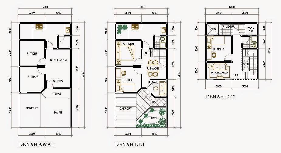 Desain Rumah Minimalis 2 Lantai Type 60
