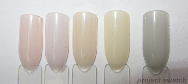 swatches - OPI You Calling Me a Lyre?, OPI Care to Danse?, OPI Barre My Soul, Wet n Wild 2% Milk, OPI My Pointe Exactly