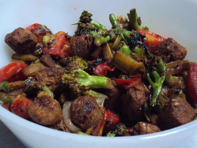 broccoli ,soy nuggets and tomatoes stir fried.....detox recipe..